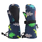 Winter Kids Waterproof Gloves for Boys Girls Snow Ski Toddler Baby Mittens Outdoor for Infant Teens 1-5T (Colorful dinosaur) (Colorful dinosaur, M(2-4T))