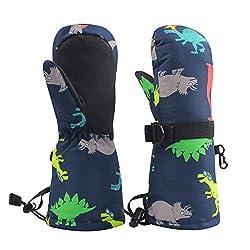 1. BAVST Kids Waterproof Dinosaur Mitten Gloves