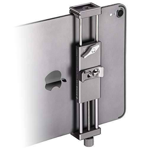 "Metal iPad Holder for Tripod Mount, 1/4"" Screw, Acra/RRS Rail Plate Mounts, Fits iPad 1,2,3,4 Mini Air Pro,Universal Tablet Pad Stablizer Clip Adapter"
