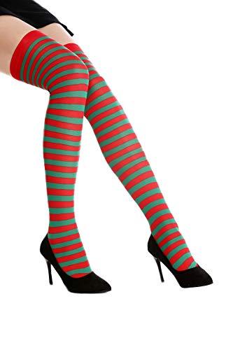 Dress Me Up - WZ-005RG Strümpfe Damen Ringelstrümpfe Overknees Karneval Rot Grün Gestreift