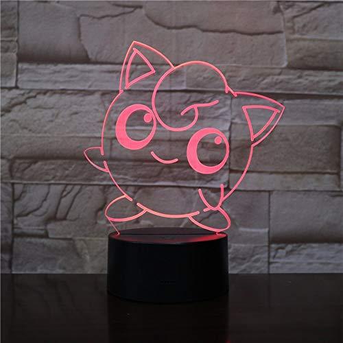 Lixiaoyuzz 3D Nachtlampe Jigglypuff Led Usb Touch Sensor Dekoration Nachtlicht Kind Kinder Geschenk Cartoon Spielzeug Spiel Tischlampe Schlafzimmer