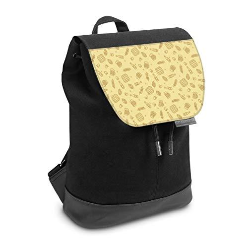 Rucksack mit Lasche 30 cm x 20 cm Daypack für Damen & Herren Tasche mit Design Getreide Bier Oktoberfest