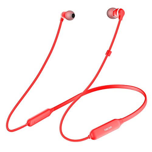 DACOM L06 Wireless Earphones Stereo Hi-Fi Bluetooth Headphones Metal Dynamic Graphene Neckband Magnetic CSR Chip with APT-X Headset for iOS and Android Cellphone (red)