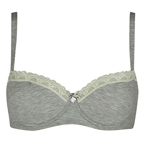 Like it de Nina de C. Sujetador con forma de balconeta, con borde de encaje, perfecto debajo de la camiseta marfil 85D