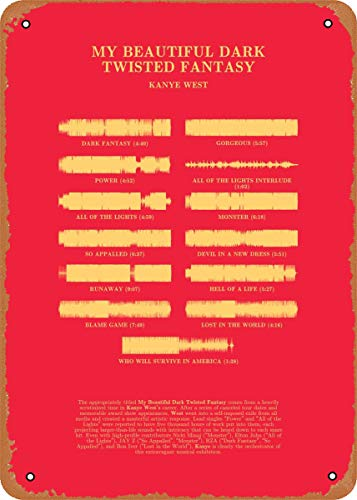"""EICOCO Waveform Albums MBDTF by Kanye West Plaque Poster Metal Tin Sign 8"""" x 12"""" Vintage Retro Wall Decor"""