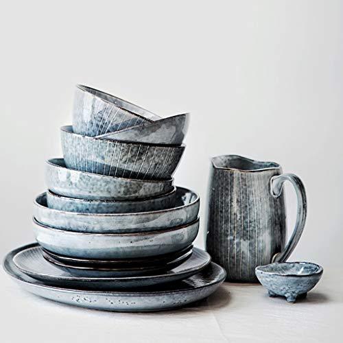 ZLDGYG Conjunto de Cena de cerámica PROCELANIA Placas diseñadas japonesas Conjunto de Plato de Restaurante Taza