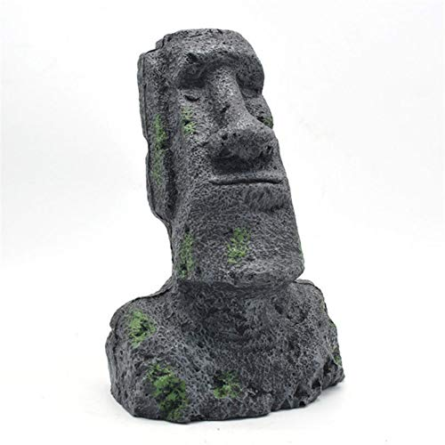 gengyouyuan Estatua de Piedra de Isla de Pascua Jardinería de Resina Caja de Reptiles Decoración del Tanque de Peces Paisajismo Moai Retrato paisajismo (Antiguo Retrato Romano [Extra Grande])