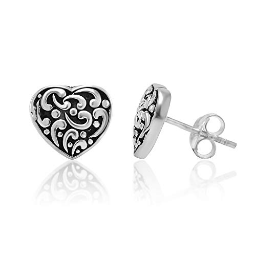 925 Oxidized Sterling Silver Filigree Heart 10 mm Post Stud Earrings