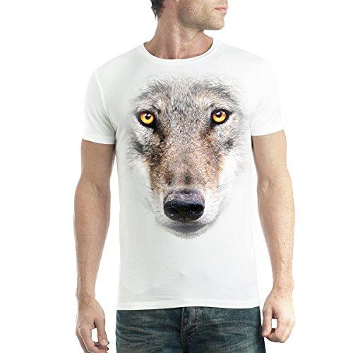 Cara del Lobo Hombre Camiseta Blanco 2XL
