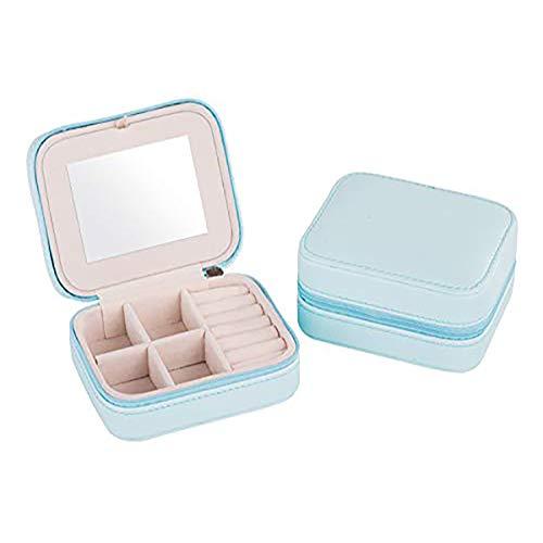 Portátil de viaje caja de joyería pequeña caja de joyería con espejo soporte para anillos, pendientes, collar, pulsera azul