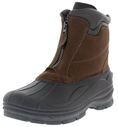 Weatherproof Trek Zip Up Waterproof Snow Boots for Men | Thermolite, Suede Ankle High Winter Boots Size-10 M US Brown