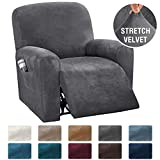 H.VERSAILTEX 4-Pieces Recliner Chair Covers Velvet Stretch Reclining Couch Covers for 1 Cushion Sofa Slipcovers Furniture Covers Form Fit Customized Style Thick Soft Washable(Small, Grey)