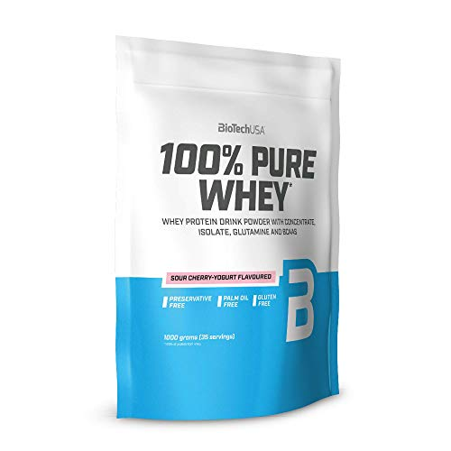 BioTechUSA 100% Pure Whey Complexe de protéines de lactosérum, avec d'acides aminés et d'édulcorants ajoutés, Sans gluten, sans huile de palm, 1 kg, Yaourt aux cerises aigres