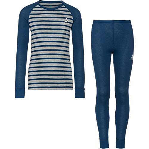Odlo Unisex Kinder Active Warm Eco Anzug, Estate Blue-Grey Melange-Stripes, 152