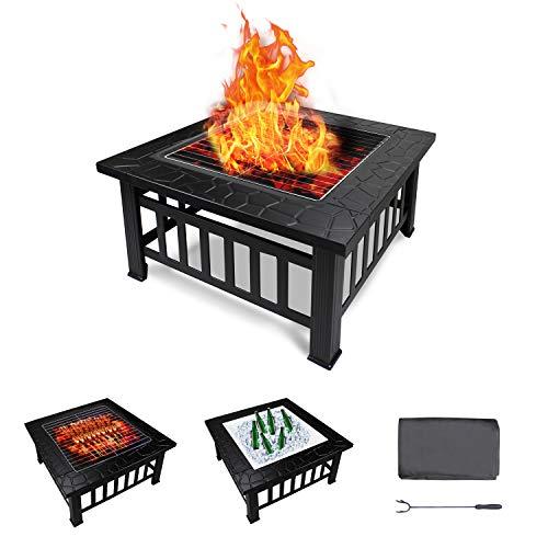 Todeco Feuerstelle Garten Feuerschale Grillstelle für Holz Holzkohle, Feuerkorb Ofen mit Deckel Wasserdichte Schutzhülle, Multifunktional Gartengrill Terrassenofen für BBQ Garten Heizung