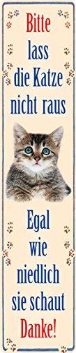 Merci de ne pas Lass chat raus Plaque de rue de magnétique en fer-blanc 16 x 3,5 cm Str M 61
