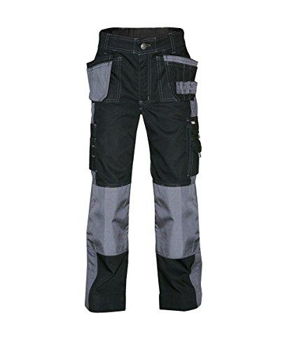 Dassy 200428-6741-122 Seattle tweetonige werkbroek met meerdere zakken en kniezak, 245 G/M2, zwart/cementgrijs, maat 122 mm