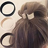 Arestech Silicone Foldable Stationarity Elastic Hair Band Women Ponytail Holder Tool Multifunction Hair Accessories (Black)