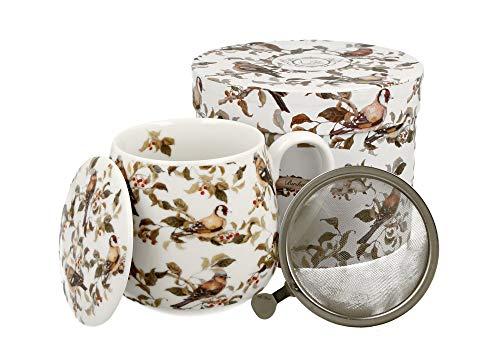 DUO - Juego de taza de té con colador (acero inoxidable) y tapa de porcelana, diseño abombado con colador, 400 ml