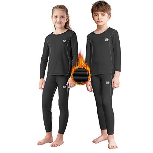 Kids Thermal Underwear Set, Unisex Base Layer Boys Girls Cold Weather Long Johns Black