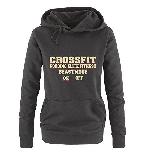 Comedy Shirts - Crossfit forging Elite Fitness Beastmode on Off - Damen Hoodie - Schwarz/Beige-Fuchsia Gr. M