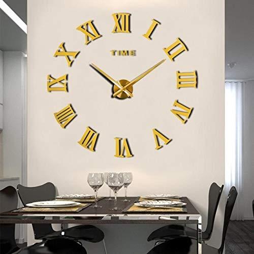 Mdsfe Reloj de Pared Grande para el hogar Reloj de Bricolaje 3D Pegatinas de Espejo de acrílico Decoración del hogar Sala de Estar Aguja de Cuarzo Reloj Colgante Autoadhesivo - Oro 2,100-120cm