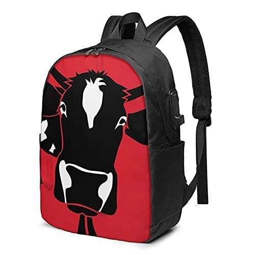 XCNGG Beefsteak Cow Travel Mochila para computadora portátil, Mochila con Puerto de Carga USB, para Hombres y Mujeres, se Adapta a 17 Pulgadas