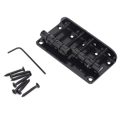 Musiclily 4 String Vintage Style Top Load Bass Hardtail Bridge for Fender Precision Jazz Bass,Black