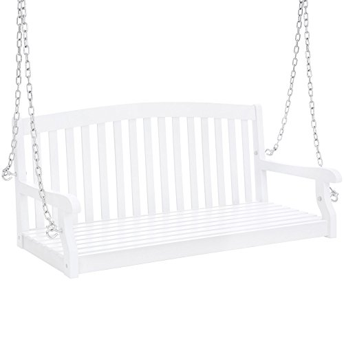 Best Choice Products 48in Wooden Curved Back Hanging Porch Swing Bench w/Metal Chains for Patio, Deck, Garden - White
