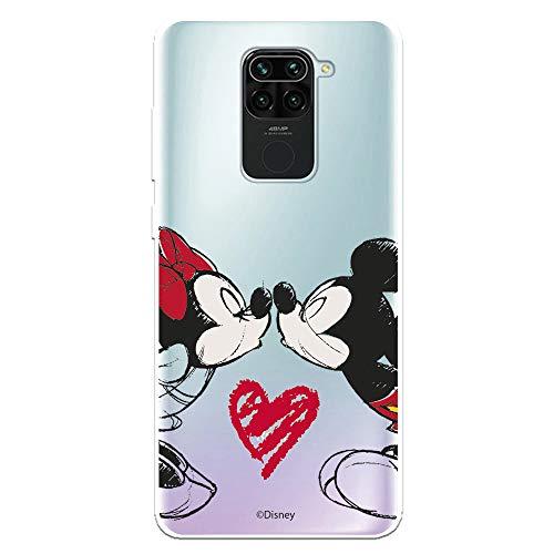 Funda para Xiaomi Redmi Note 9 Oficial de Clásicos Disney Mickey y Minnie Beso para Proteger tu móvil. Carcasa para Xiaomi de Silicona Flexible con Licencia Oficial de Disney.