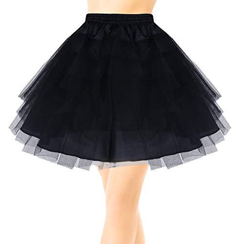 EQLEF Kurz Multi Schichten Tulle Petticoat Krinoline Unterrock für Mädchen Tüll Unterrock Underskirt Petticoat Rockabilly Frauen(Schwarz)