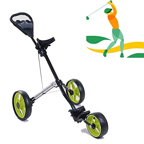 Find Discount Folding Push Pull Golf Cart, 2020 New Golf 3 Wheel Golf Push Cart with Kettle Stand an...