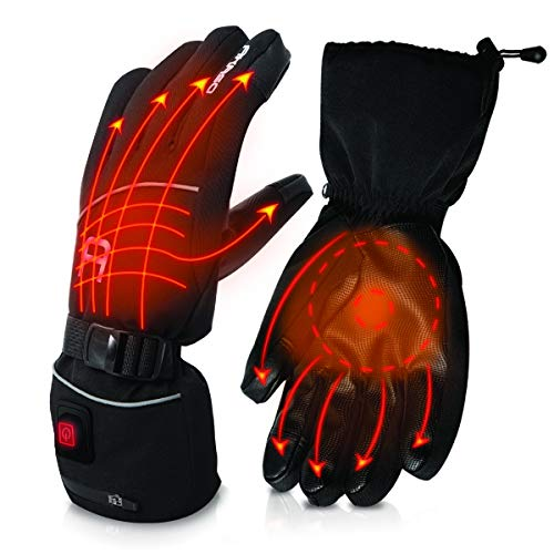 AKASO Heated Gloves for Men Women, Electric Heated Ski Gloves with 3 Heating Modes, Thermal Insulation Winter Hand Warmers with Rechargeable Battery-Overheating Protection- Best Gift, Black (L)