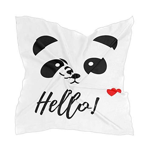 XiangHeFu Mooie panda zwart wit dunne halsdoek zijden sjaal hoofdtooi transparante halsdoek chiffon