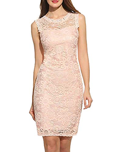 Zeela - Abito da sera elegante da donna, senza maniche, in pizzo, motivo floreale rosa S