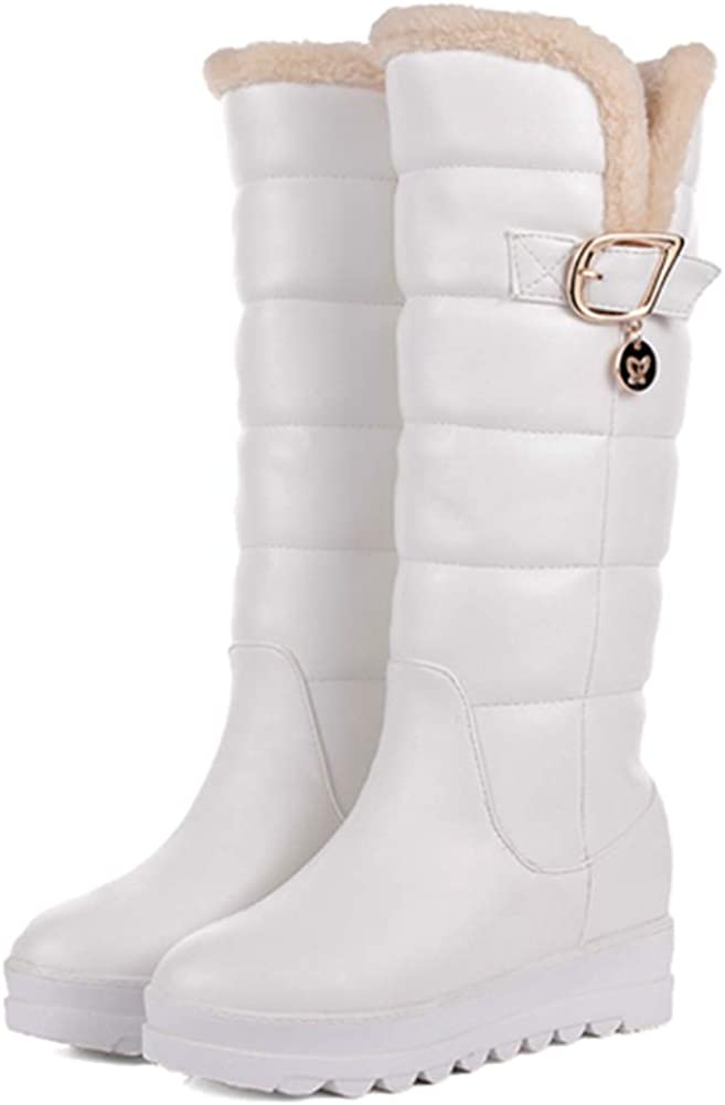 heelchic Women's Winter Warm Fur Lined Mid Calf Boots Ladies Comfortable Snow Boots White