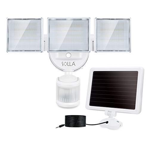SOLLA Solar Led Außenstrahler mit Bewegungsmelder, 2000LM 5000K LED Flutlicht mit 3 Verstellbare Köpfe, 270° IP65 Wasserdichte, für Garten, Hof und Garage I Solarlampe für Außen I Außenlampe