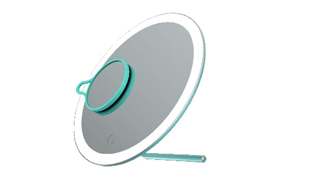 再撮りうめき声同一性ミニLED化粧鏡、シンプルなクリエイティブデスク照明化粧鏡、多機能ポータブル化粧鏡、USB充電 (Color : Blue)