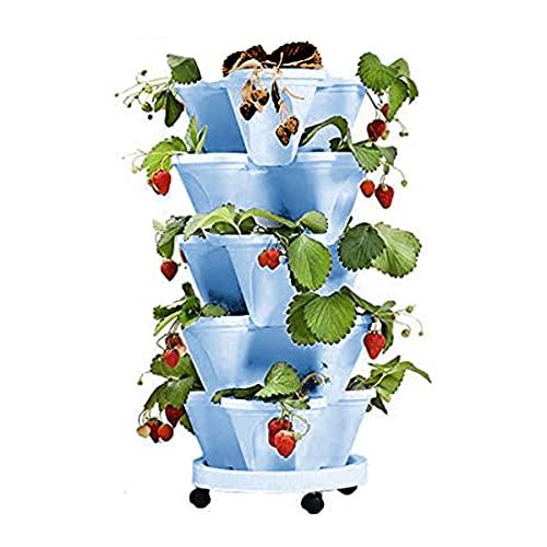 FUBAO - Fioriera da giardino a 5 ripiani con contenitore per arrotolare, 5 vasi impilabili in plastica, torre da giardino verticale per aiuole, per interni ed esterni (1 set blu)
