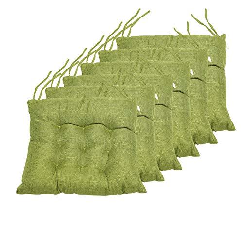 BCASE, Pack 6 Cuscini per Sedia e Sedile, 42x42cm, Fodera in Polyster, Imbottitura in Fibra, 9 Impunture, per Cucina, Camera, Soggiorno, Giardino, Terrazza, Patio, Etc. Verde