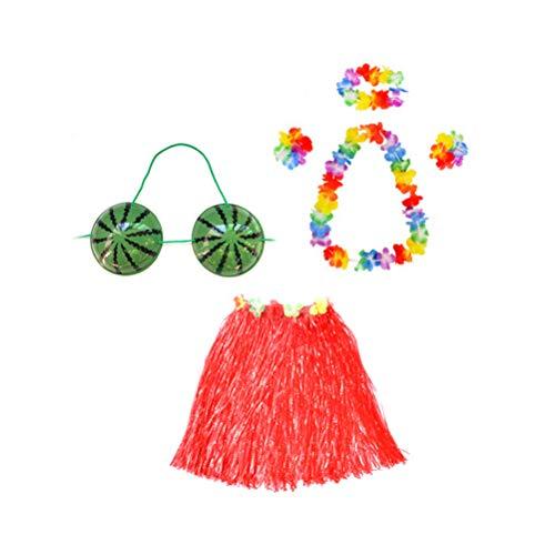 TENDYCOCO Rock Set Hawaii Tropical Hula Grass Dance Set Rock Blume Leis Armbänder Stirnband Halskette BH Set für Frauen