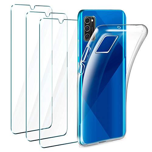 Leathlux Funda Samsung Galaxy A41 + 3 x Protector de Pantalla Samsung Galaxy A41, Transparente TPU Silicona Funda + Cristal Vidrio Templado Protector de Pantalla y Carcasa Samsung Galaxy A41