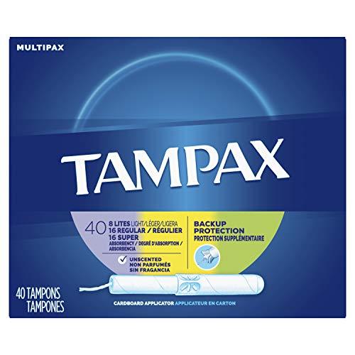Tampax Cardboard Applicator Tampons, Light/Regular/Super Absorbency Multipack, Unscented, 40 Count- Pack of 6 (240 Count Total)
