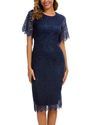 Sheath Dresses for Petite Woman Vintage Eyelash Lace Juniors Teen Chic with Sleeves Cocktail Party Bodycon Pencil Casual Dating Dinner Midi Dress 931 (M, Navy Blue)
