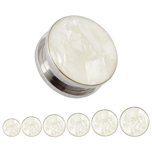 KUBOOZ White Sea Shell Opal Stainless Steel Screw Ear Piercings Body Jewelry Plugs Tunnels Gauges 0g (8mm)