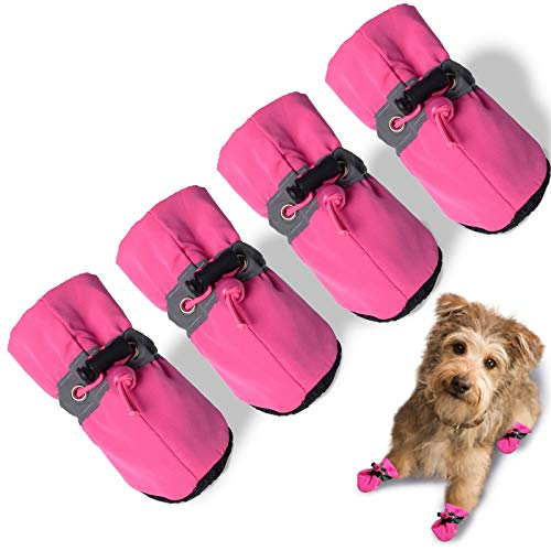 "TEOZZO Dog Boots Paw Protector, Anti-Slip Winter Dog Shoes with Reflective Straps for Small Medium Large Dogs 4PCS(Size 7: 2.55""x2.16"")"