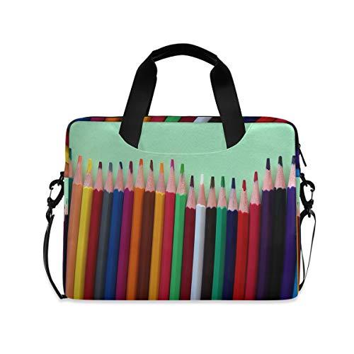 Unique Color Pencils Beautiful Cute Laptop Carrying Case Shoulder Bag Briefcase W/Strap Women Men 15.6' 16'