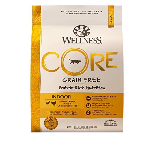 Wellness CORE Grain-Free Chicken, Turkey & Chicken Meal Indoor Formula Dry Cat Food, 11 Pound Bag