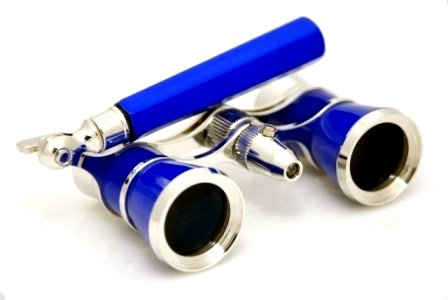 Finissimo Optics 3x25 Blue Opera Glasses with Extendable Handle and Red Reading LED Flashlight / Theater Binoculars / with Silver Trim