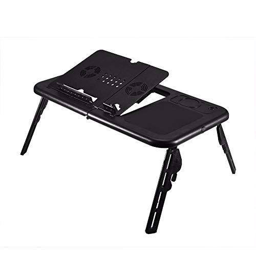 JONJUMP Mesa plegable para ordenador portátil, ajustable, soporte de mesa plegable, bandeja para ventilador de refrigeración para cama, sofá, portátil